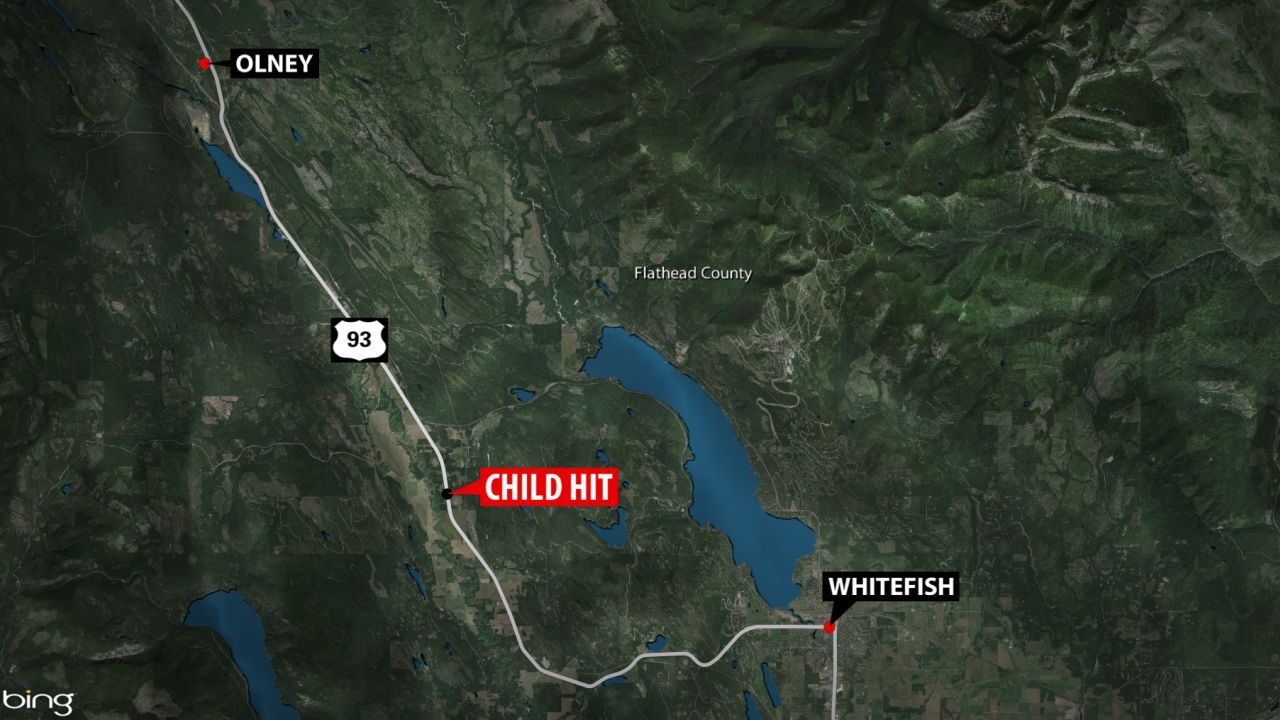 Child hospitalized after being hit by a vehicle near Whitefish