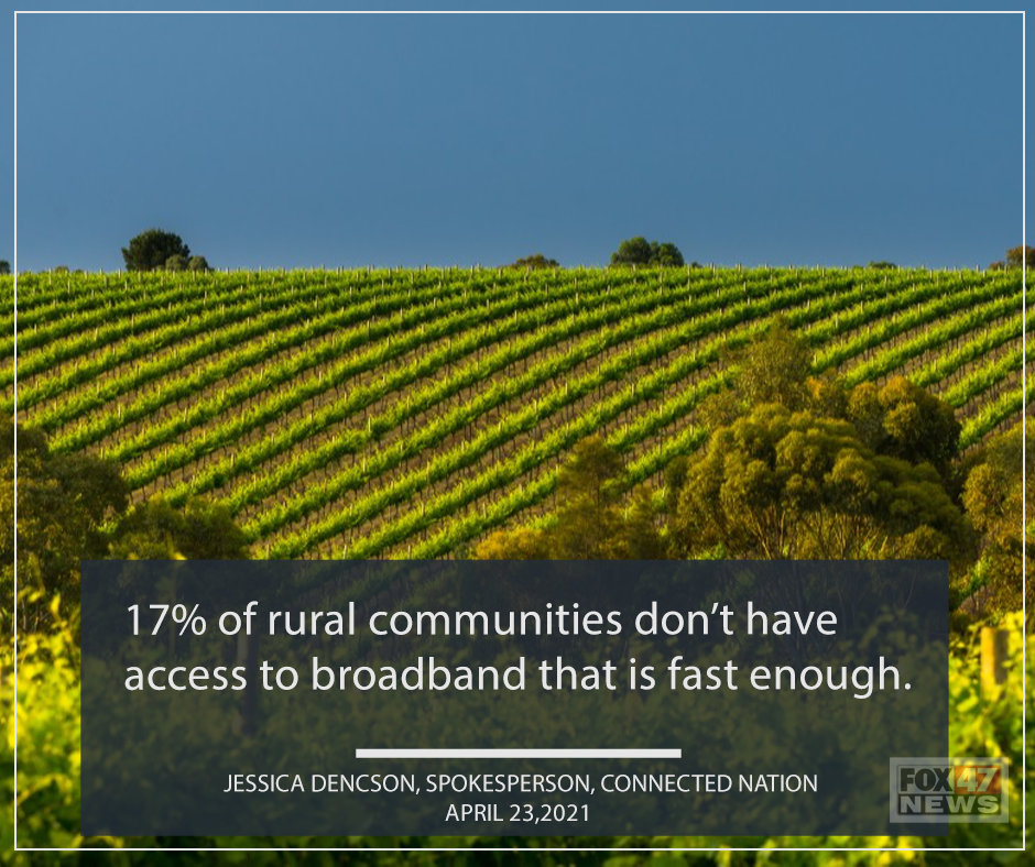 17% of rural communities don't have access to broadband that is fast enough