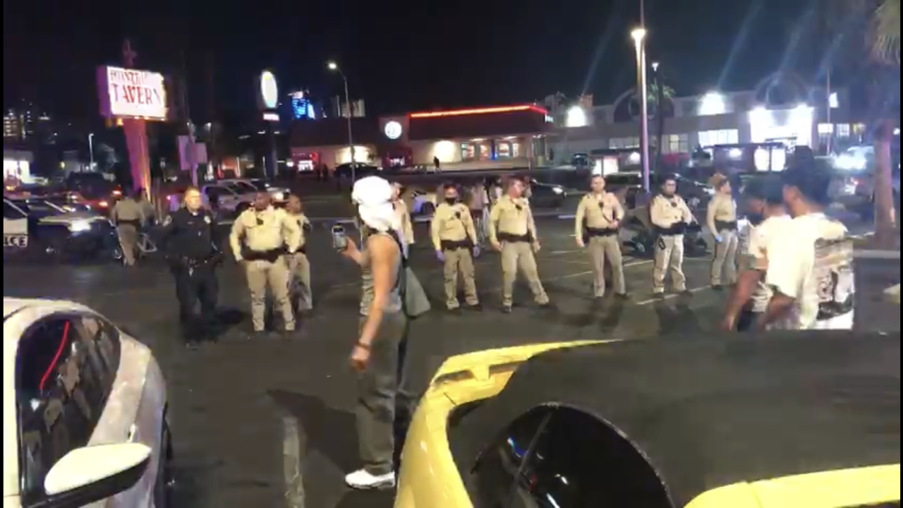 These are screen shots from video provided by Erica Gueco of a Las Vegas Police encounter after a large bike ride near Maryland Pkwy. and Charleston Blvd. on Wednesday, April 14, 2021