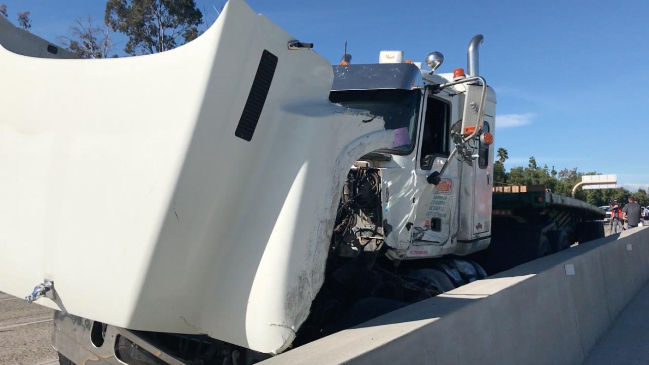 Big rig crash slows commute on Interstate 15