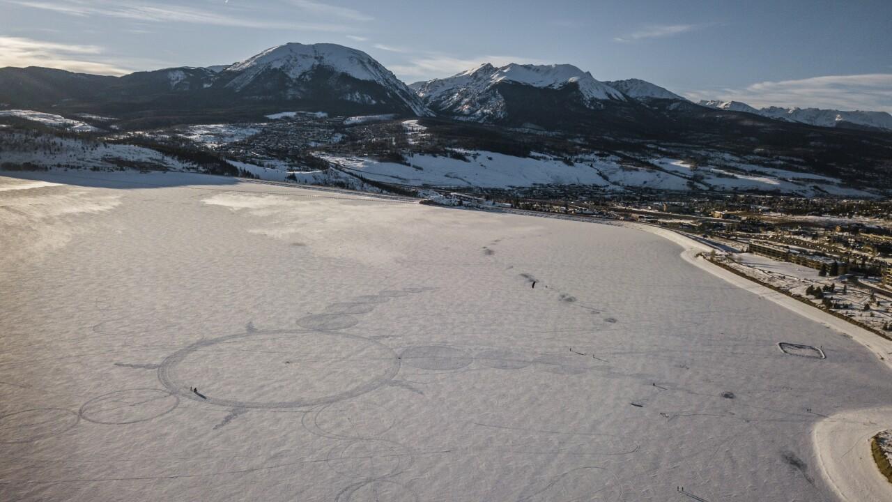 Simon Beck creates snow drawings near Silverthorne, Colorado