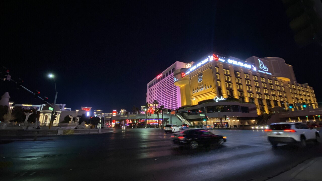 These are photos of the Las Vegas strip at Flamingo and Las Vegas Boulevard as seen in Jan. 2021