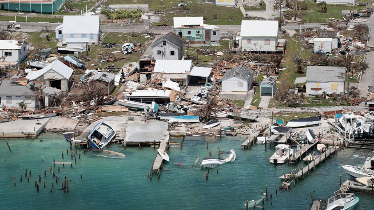 An aerial view of damage caused by Hurricane Dorian is seen on Great Abaco Island on September 4, 2019 in Great Abaco, Bahamas. A massive rescue effort is underway after Hurricane Dorian spent more than a day inching over the Bahamas, killing at least seven as entire communities were flattened, roads washed out and hospitals and airports swamped by several feet of water, according to published reports.