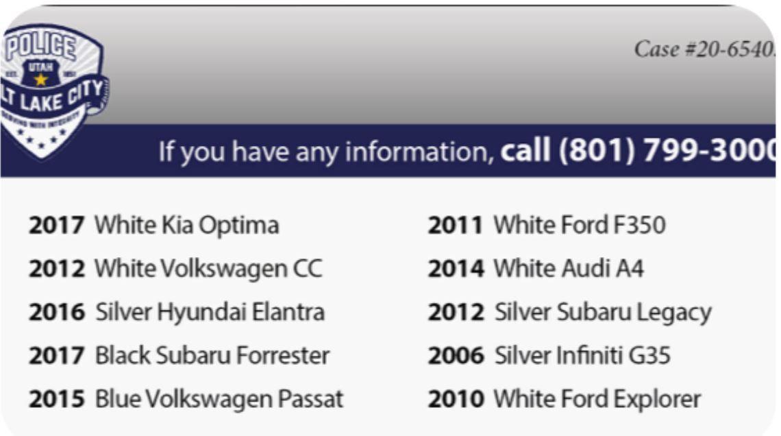 List of stolen vehicles.