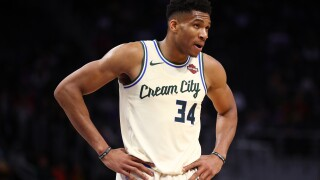 Giannis in cream city jersey