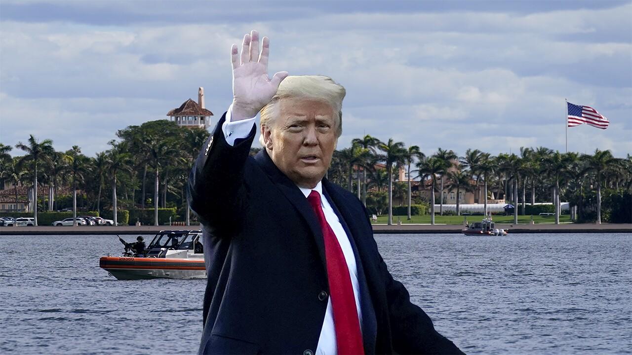 President Donald Trump superimposed over Mar-a-Lago Club, January 2021