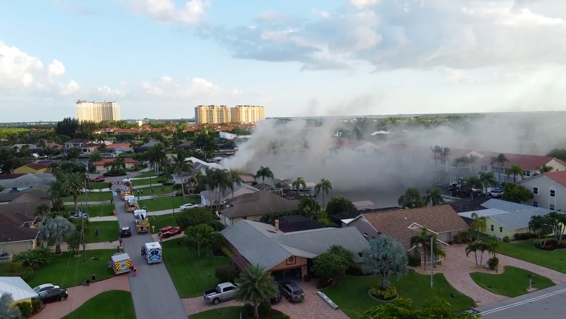 Cape Coral house fire - aerial shot from Jack Thompson