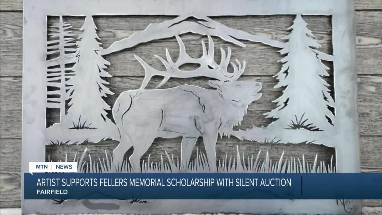 Nikki Gulick of Iron Horse Metal Art hand-drew and cut an original 2 x 3 metal portrait of an elk in a mountain range