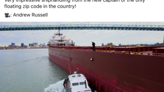 How does mail get delivered to freighters on the Detroit River? See it in this awesome video
