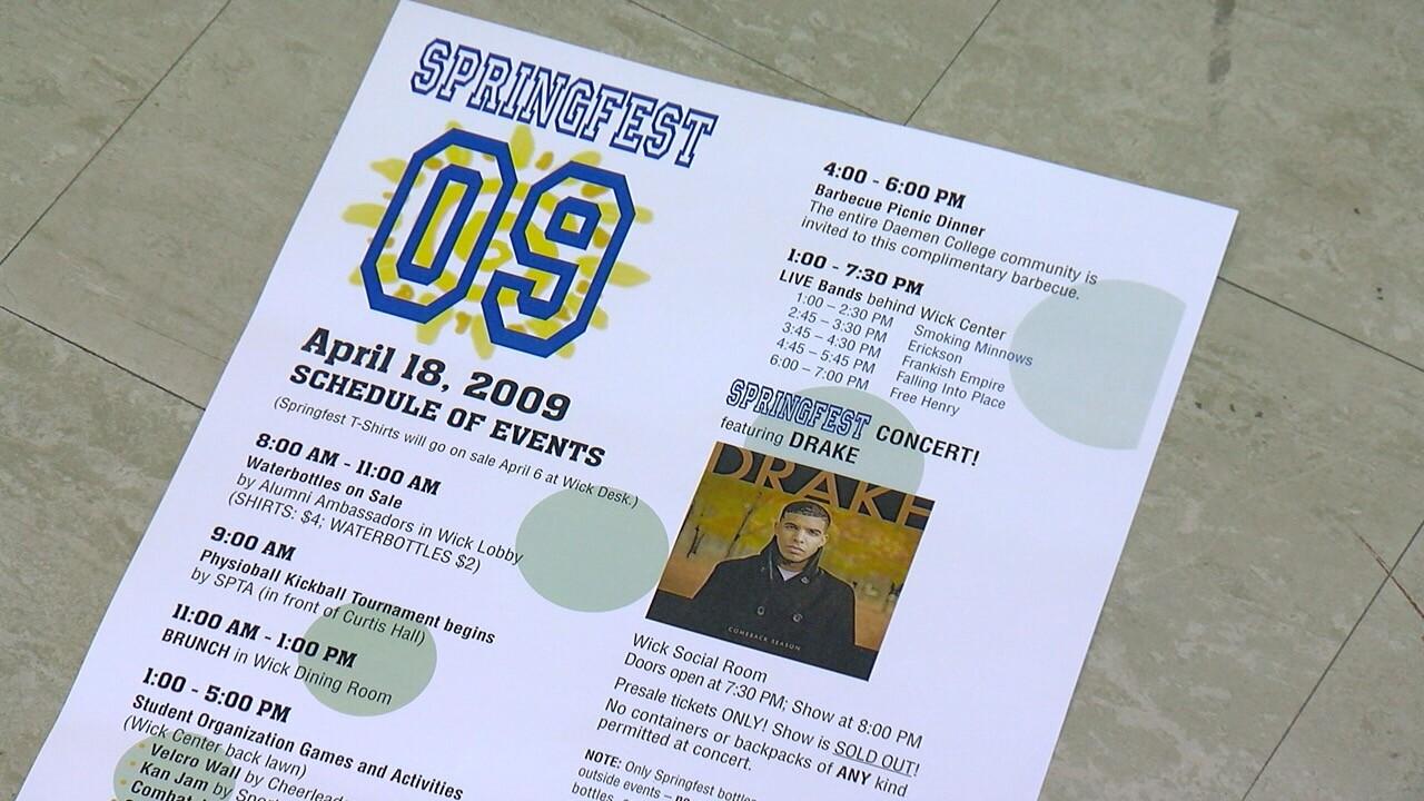 2009 Springfest flyer shows Drake performed at Daemen College.jpg