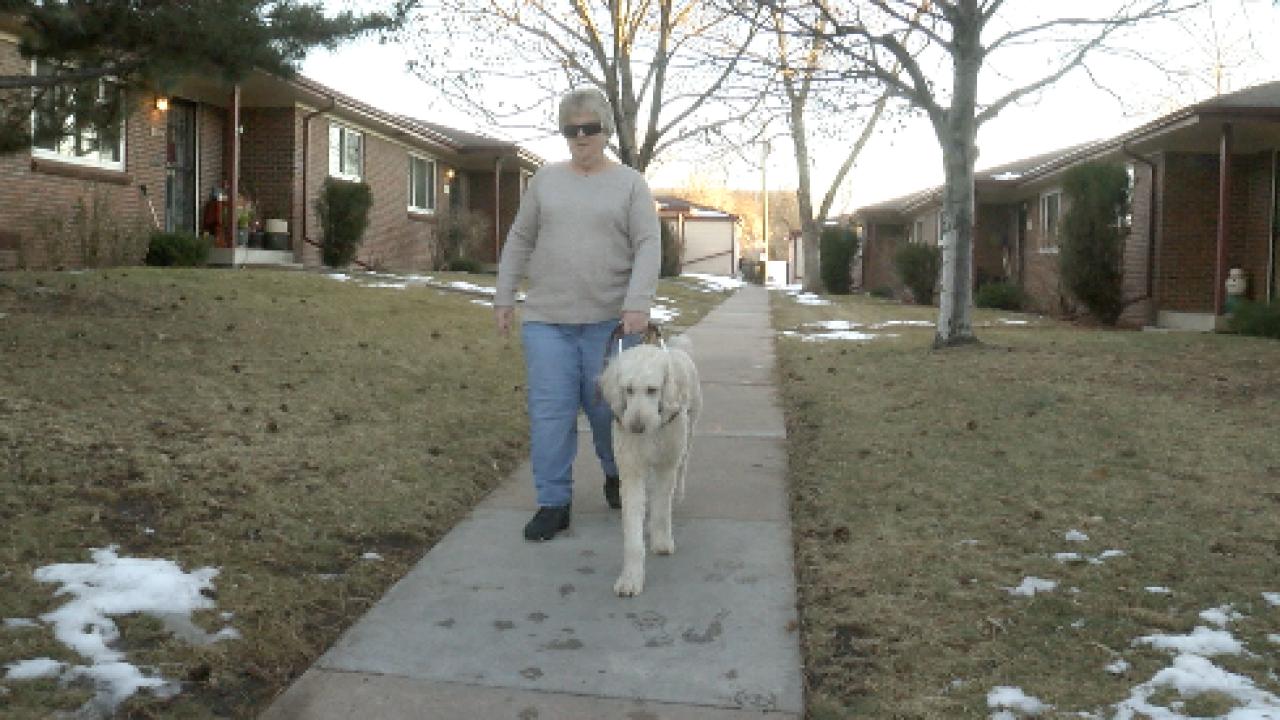 Carolyn walking her service dog, Bennett