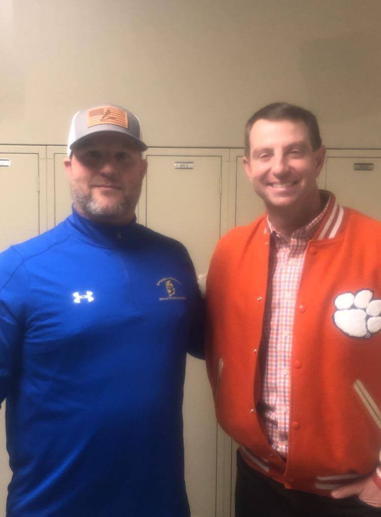 Ricky Irby and Clemson coach Dabo Swinney