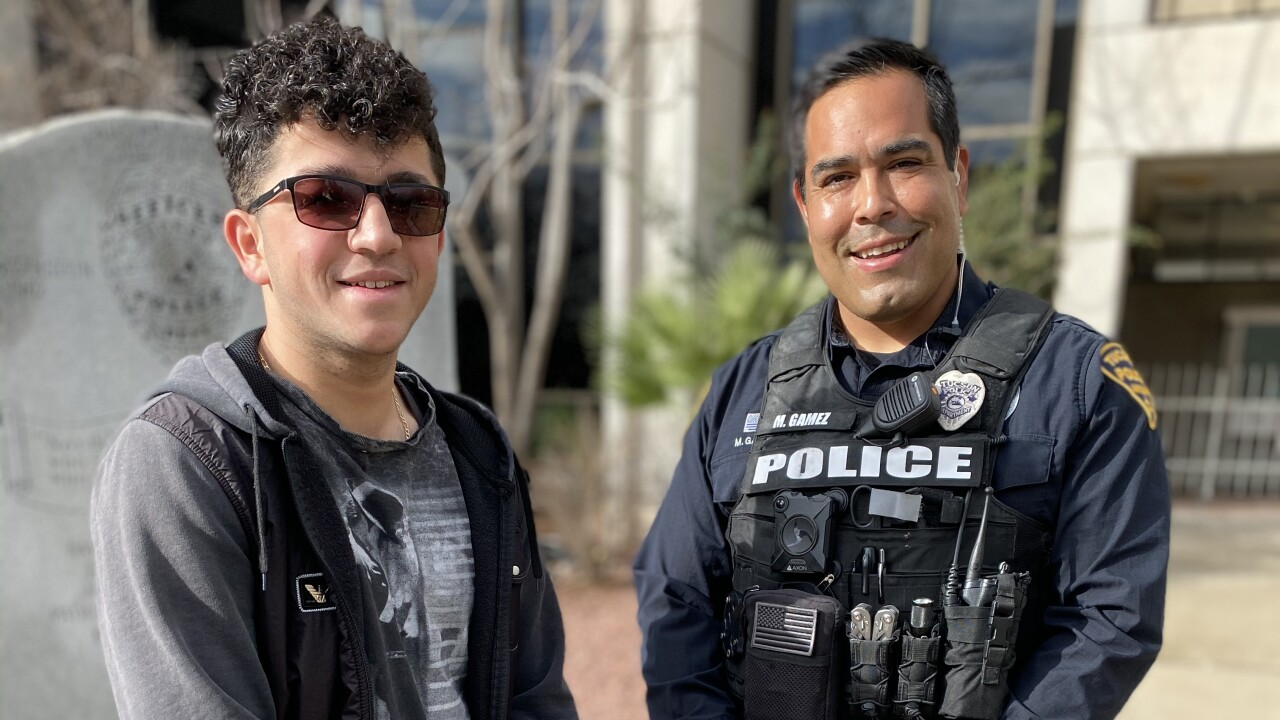 Bashar and Officer Mike Gamez