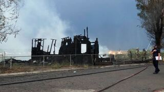 Unoccupied home completely burned by fire in Pueblo.