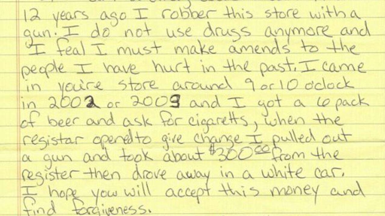 Apology letter begins: 'I am a drug addict,' seeks forgiveness for 12-yr-old robbery