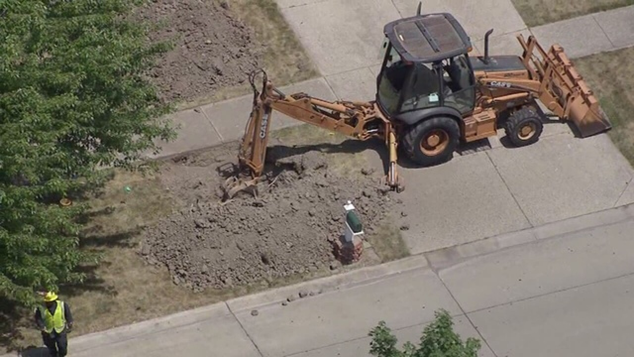 Several homes evacuated due to a gas main break in Macomb Township