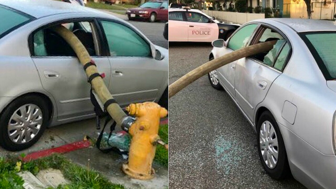 Fire department posts photos of what happens when you park in front of a hydrant