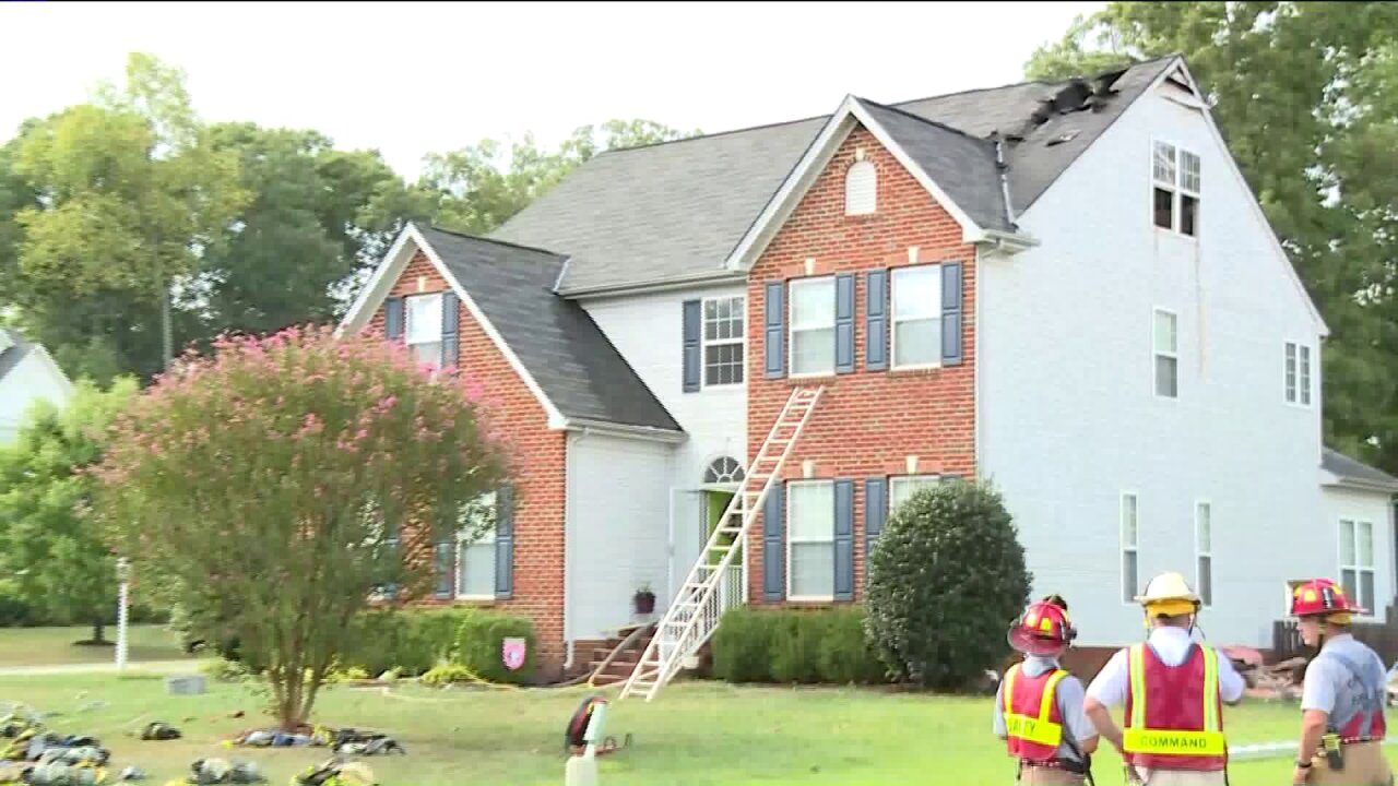Chesterfield house fire possibly sparked by lightningstrike