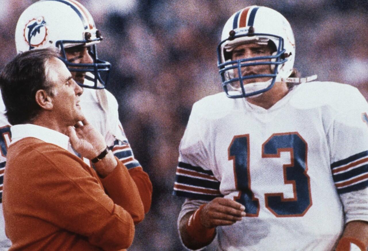Don Shula and Dan Marino in 1985 Super Bowl
