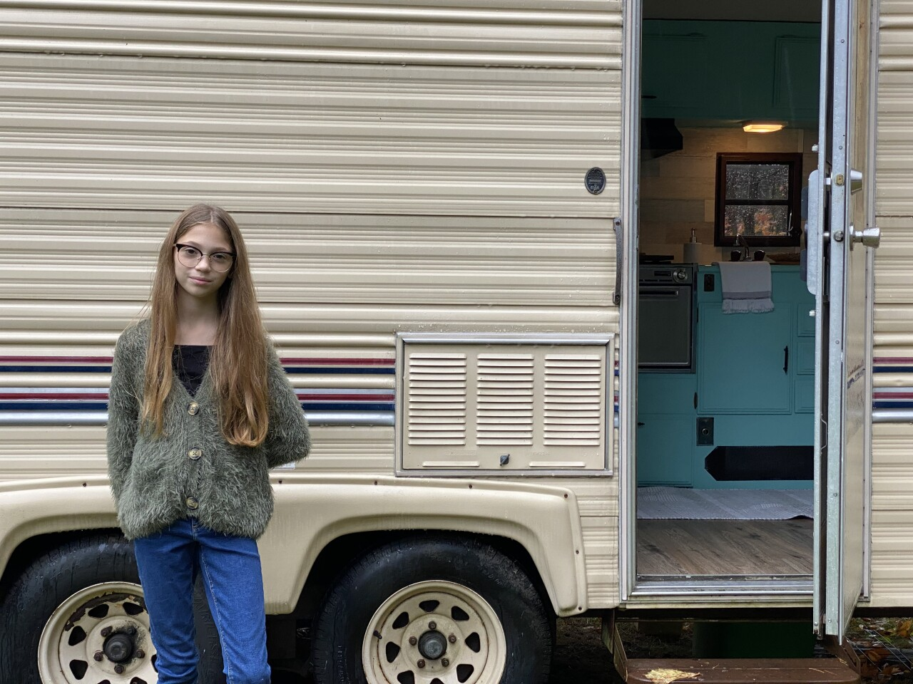 Lauren Nelson's camper got her calls from news outlets around the country