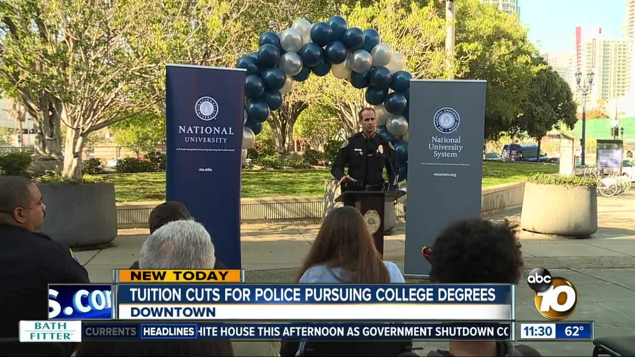 National University offering tuition cuts for police
