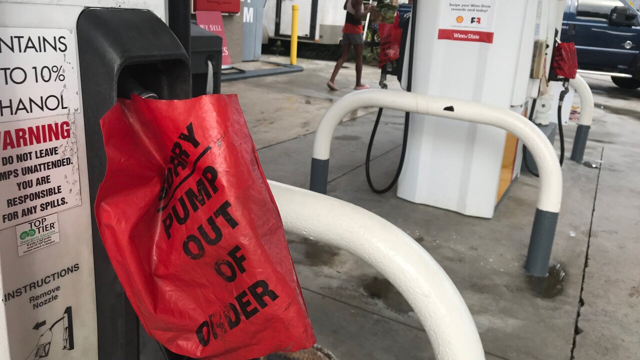 People are leaving their cars at gas stations as fuel runs out in Florida ahead of hurricane