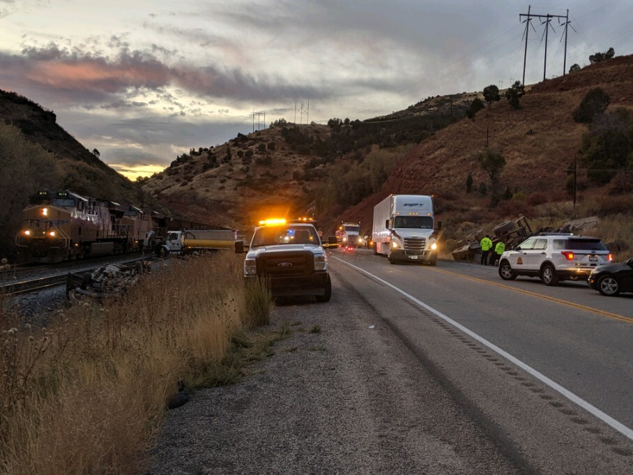 Photos: Dump truck crash forces closures in Spanish Fork Canyon, leaves 2 injured