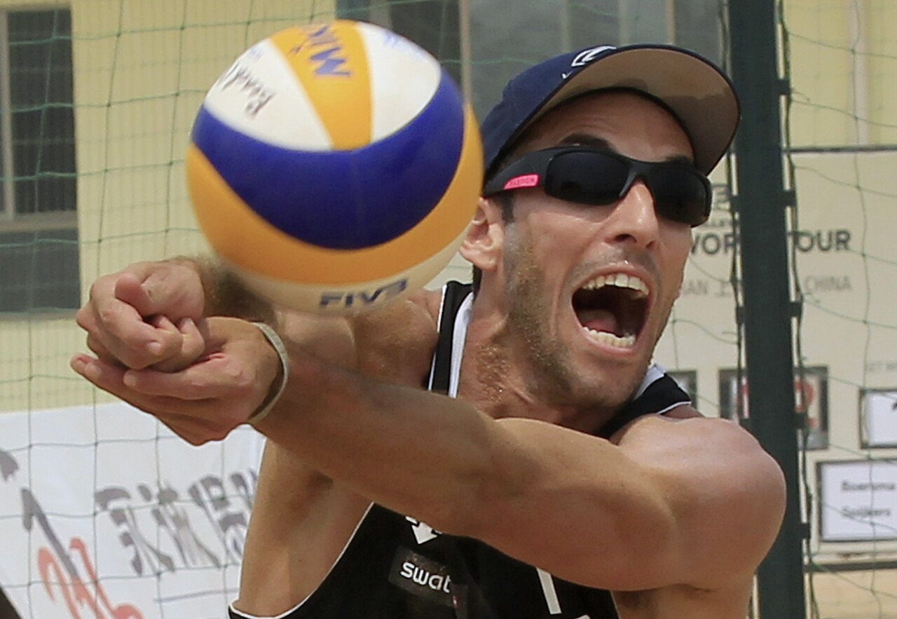 Nick Lucena, beach volleyball player, in 2012