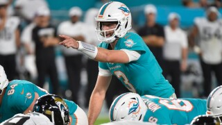 Josh Rosen #3 of the Miami Dolphins in action during the third quarter of the preseason game against the Jacksonville Jaguars at Hard Rock Stadium on August 22, 2019 in Miami, Florida.