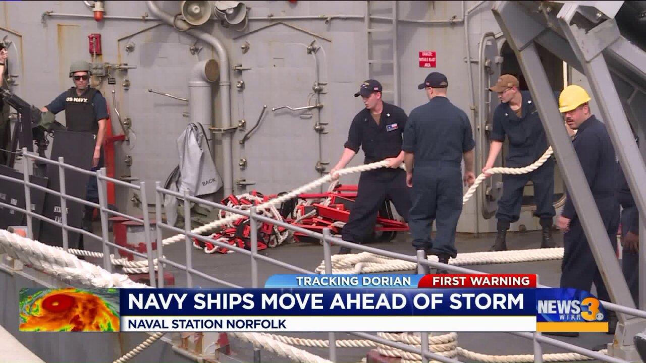 Navy sorties ships at some bases ahead ofDorian