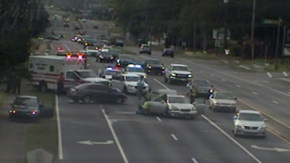 Car crash blocks lanes on Apalachee Parkway