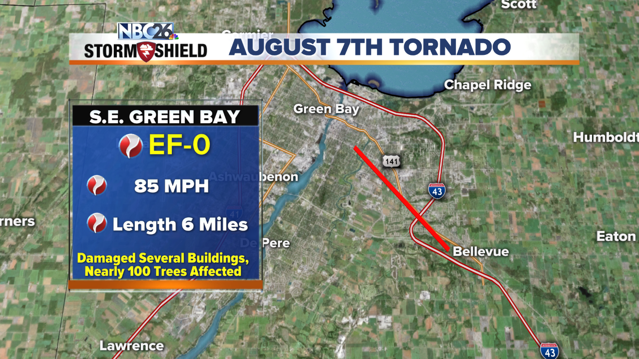 Tornado touchdown confirmed in Green Bay area