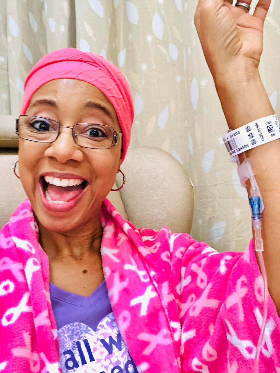 Sherry Hughes posted this photo of herself on Facebook on Nov. 8, 2019. It shows her getting chemotherapy.