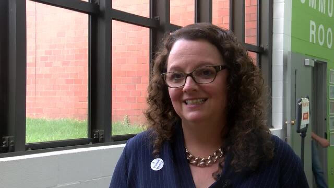 Kara Eastman votes in Democratic primary