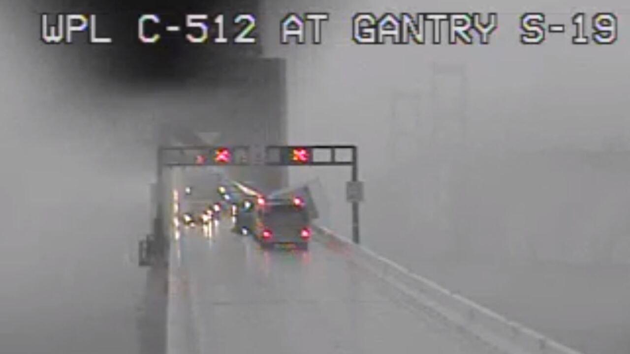 Tractor Trailer overturns on Bay Bridge