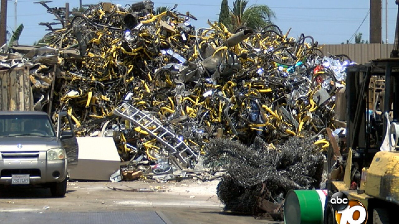Rideshare bikes piling up at San Diego scrapyard