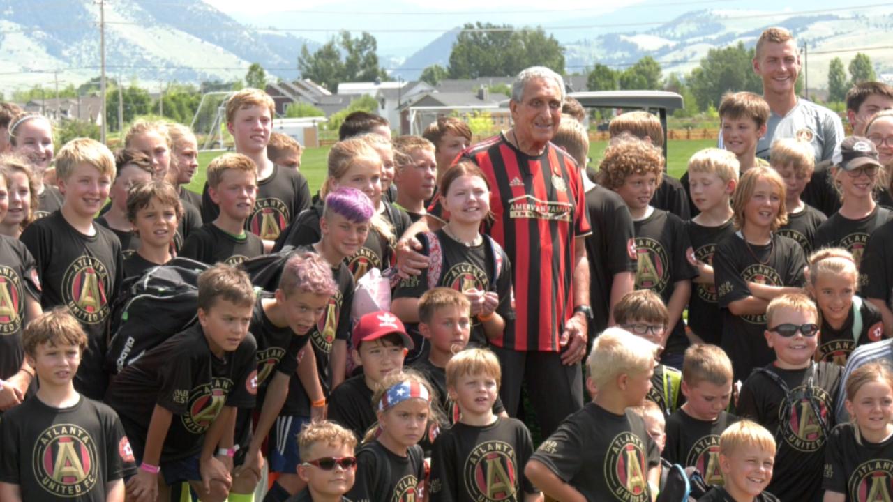 Atlanta Falcons and Atlanta United owner Arthur Blank visits Bozeman soccer camp