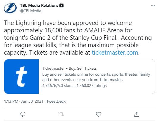 Amalie Arena tweet