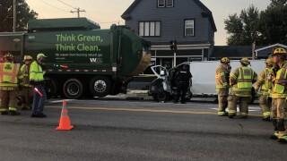 Van vs. garbage truck Lancaster