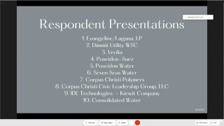 Presentations from different water supply companies that presented in City Council Meeting