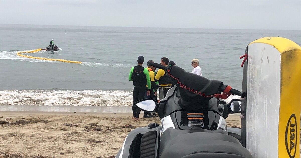 First responders practice oil spill cleanup at Goleta Beach