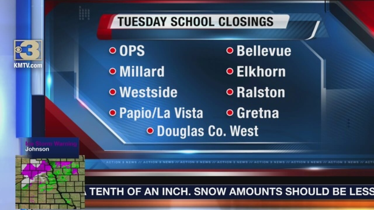Metro area schools cancel Tuesday classes due to weather