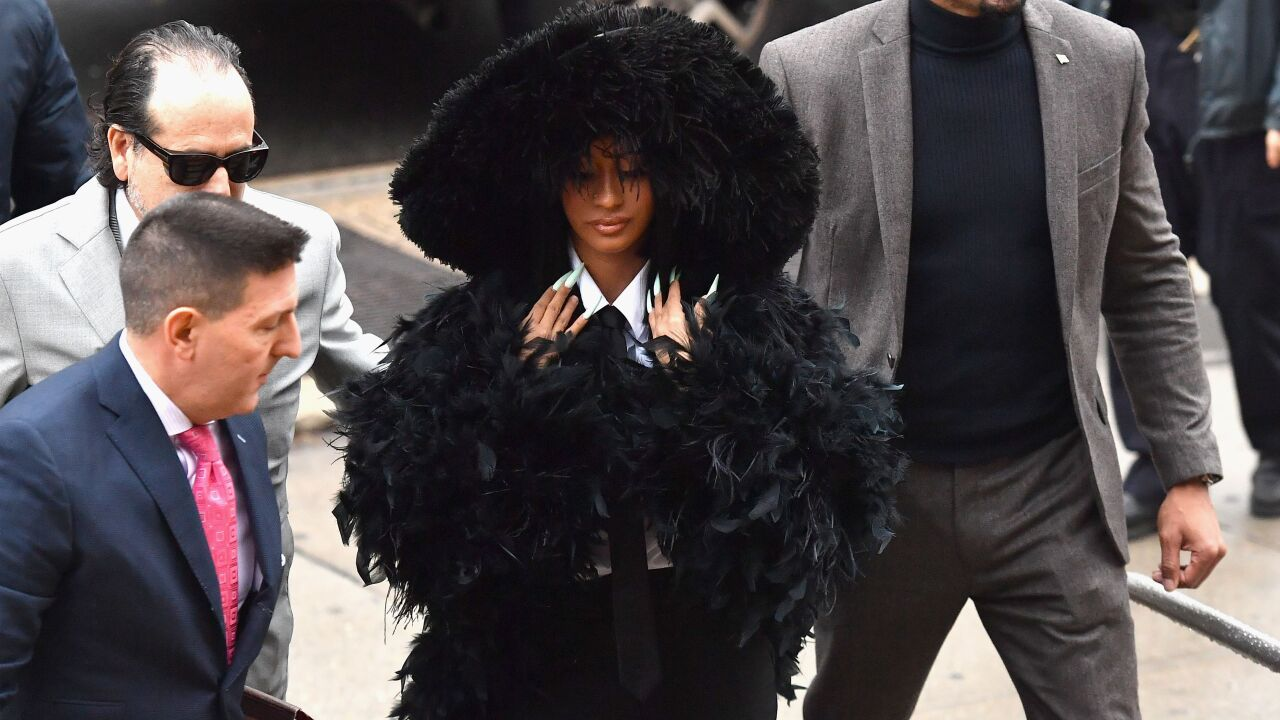 Rapper Cardi B arrives for her court hearing at Queens Criminal Court on December 10, 2019 in New York City. (Photo by Angela Weiss / AFP) (Photo by ANGELA WEISS/AFP via Getty Images)