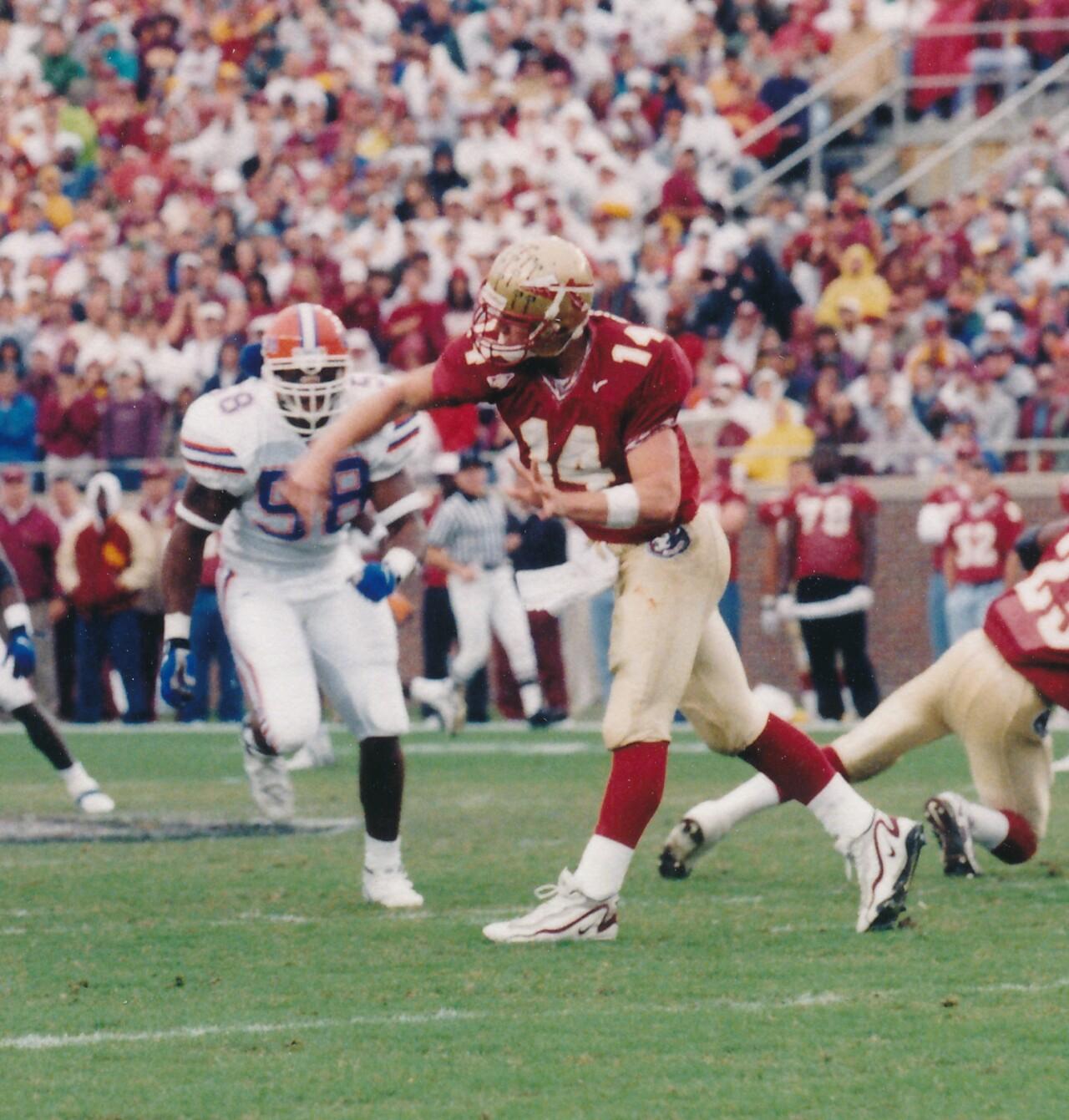 Florida State Seminoles QB Marcus Outzen throws vs. Florida Gators in 1998