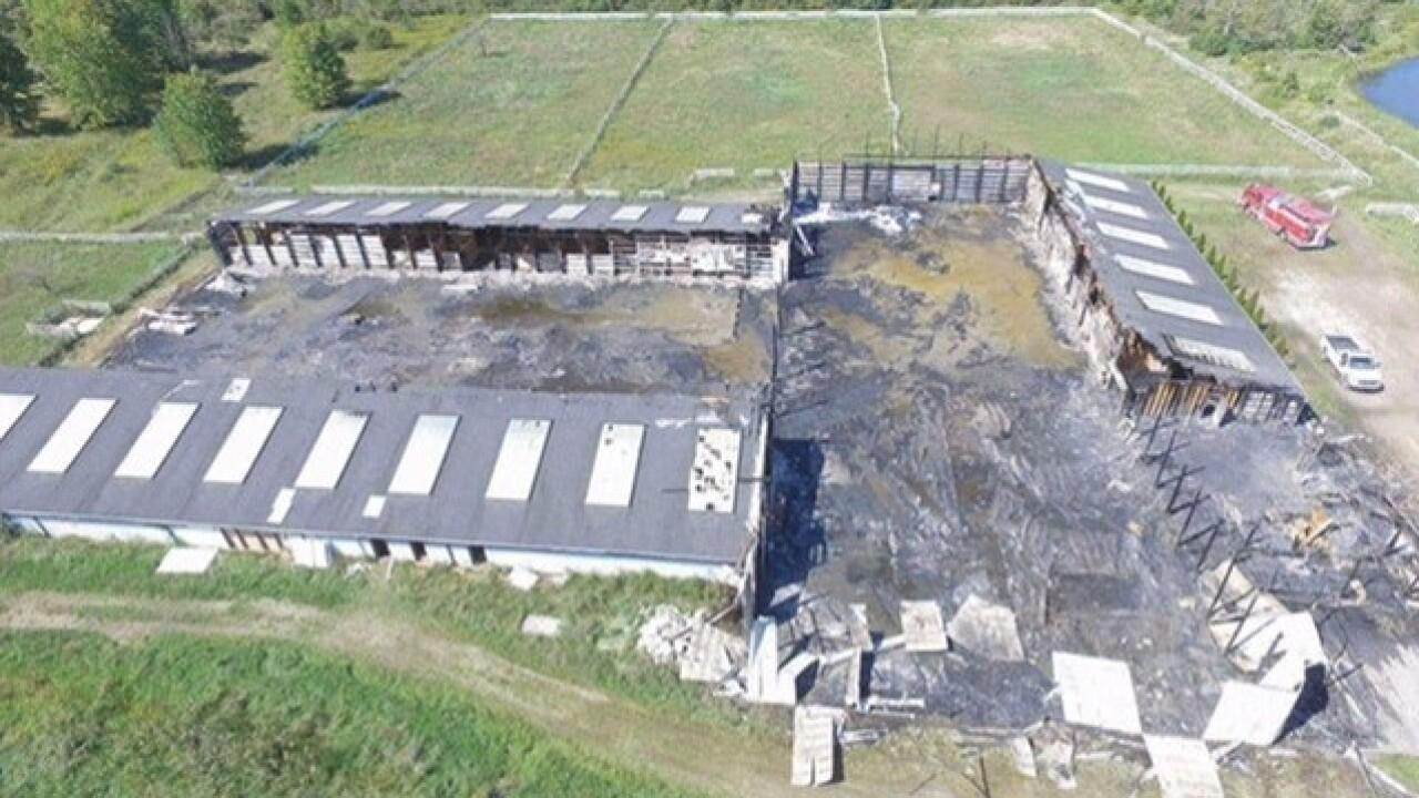 Massive fire destroys barn in Lenox, Michigan