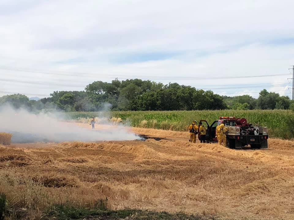 Photos: Crews quickly contain field fire in WeberCo.