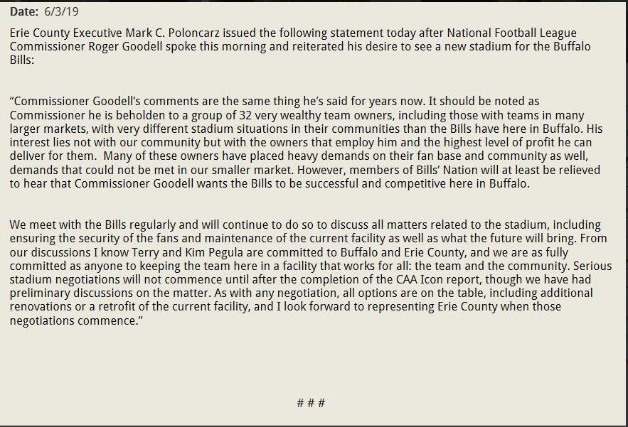 Mark Poloncarz Statement Bills stadium