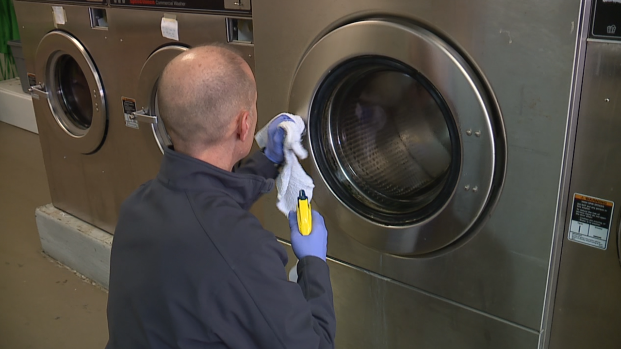Cleaning Laundry Machines at The Green Van