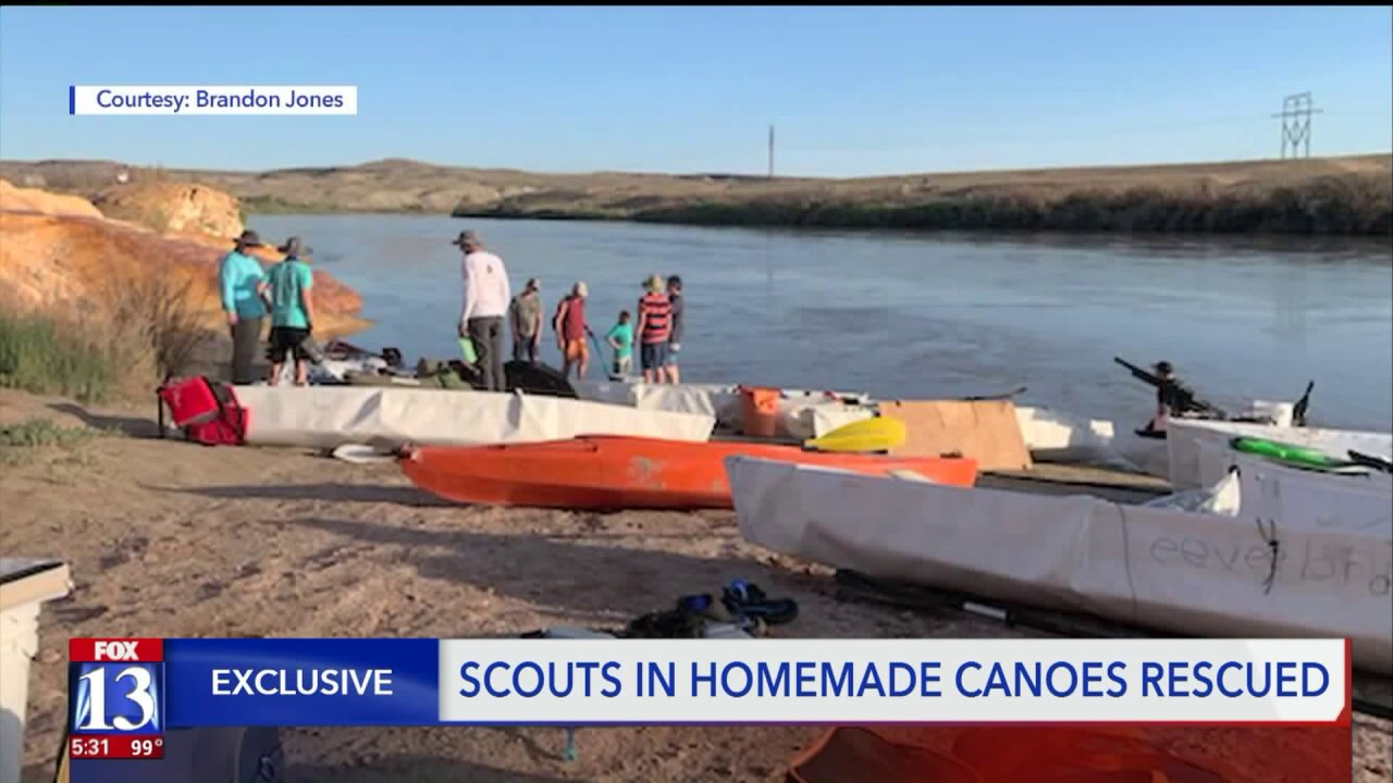 Boy Scouts rescued from rough patch in Green River, then finish the trip — in handmade canoes