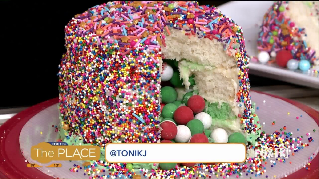 A cake recipe perfect for Thanksgiving, and one that would make Rainbow Brite proud